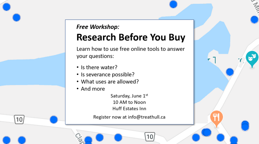 This free seminar on Saturday June 1st will show you how to use free online tools to research properties in Prince Edward County.