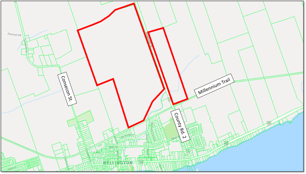 Map showing the location of the proposed Country Club Estates in Wellington