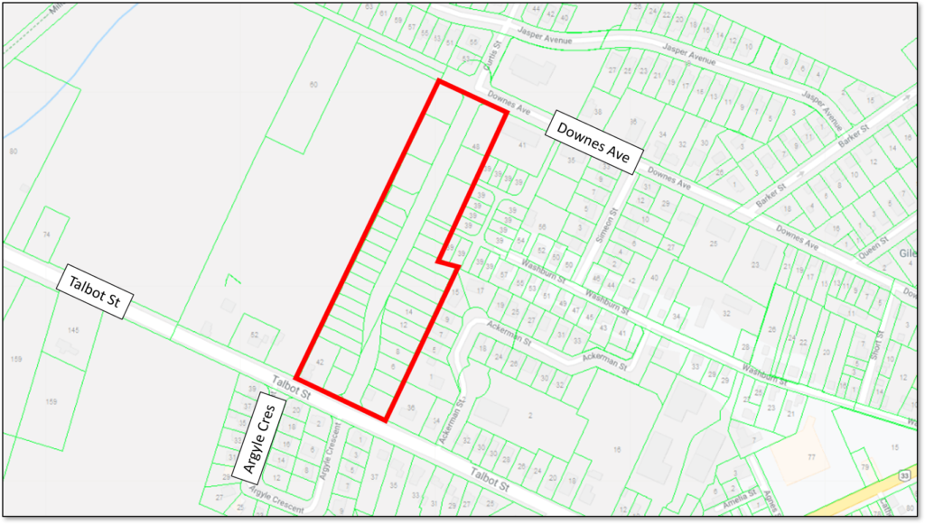 Map showing the location of the Curtis Street development in Picton