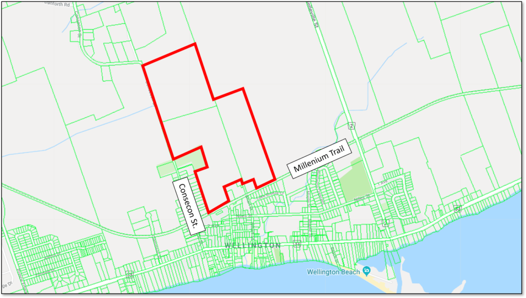 Map showing the location of the 80-acre Fields of Wellington development.