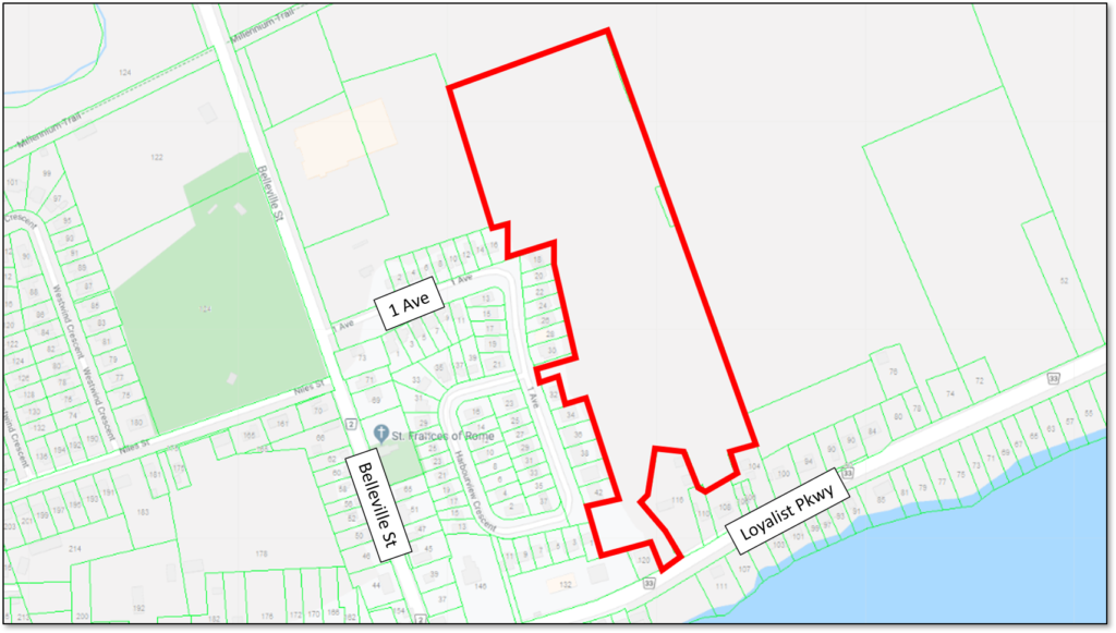 Map showing the location of the proposed Lake Side Estates in Wellington