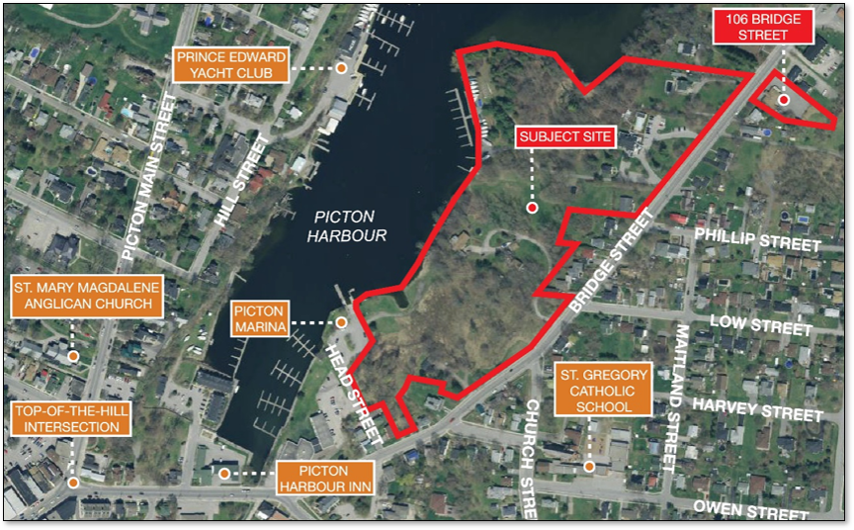 Map showing the location of the proposed Port Picton Harbour development in Picton