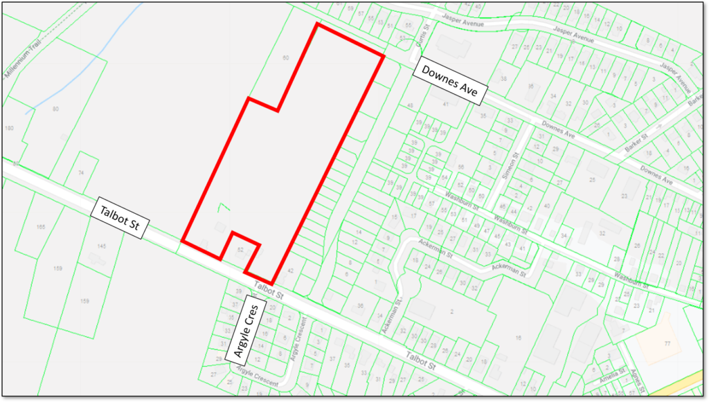 Map showing the location of the Talbot Ridge development in Picton