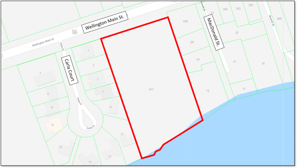 Map showing the location of the proposed 12 Trees development in Wellington