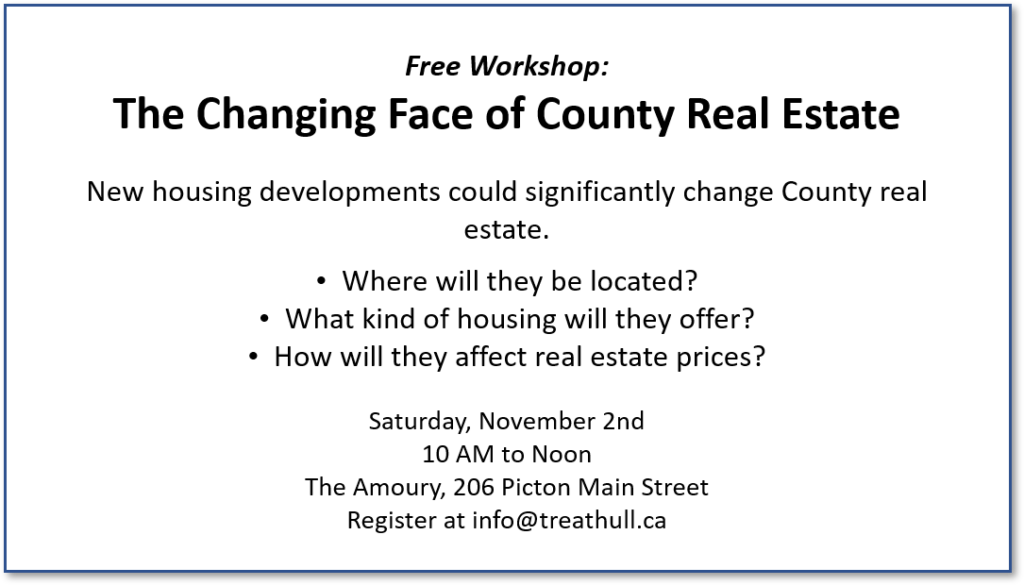"""Image provides details of free workshop on """"the changing face of County real estate"""" to be held on November 2nd, 2019."""