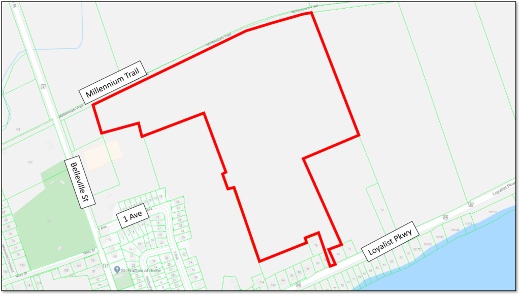 Map showing the location of the proposed Wellington Bay Estates development in Wellington