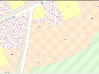 Image shows zoning in the hamlet of Bloomfield, Prince Edward County