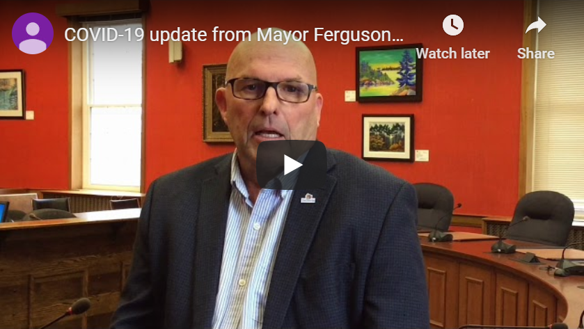 Image links to video message from Prince Edward County Mayor Steve Ferguson on COVID-19.