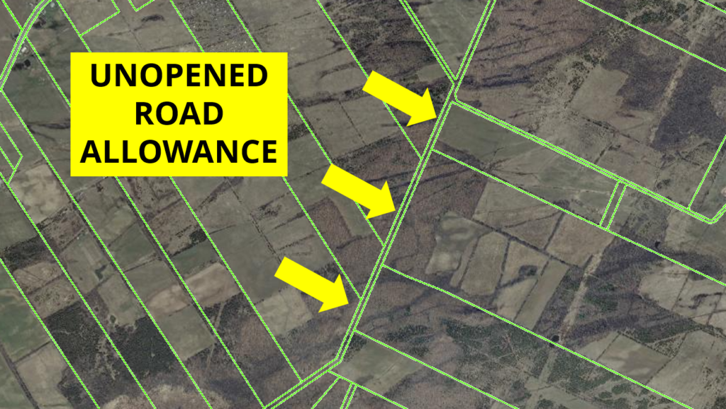 Aerial photo shows how to recognize an unopened road allowance on Prince Edward County's municipal GIS.