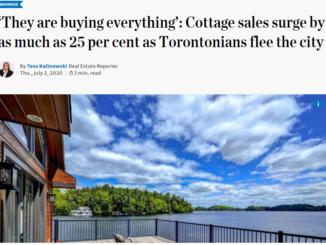 Image shows Toronto Star article which quotes Broker of Record Treat Hull on how working from home is driving demand for Prince Edward County real estate