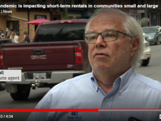 Image shows a screen grab from CBC TV The National interviewing broker of record Treat Hull on the impact of Covid-19 on short term rentals and housing affordability.
