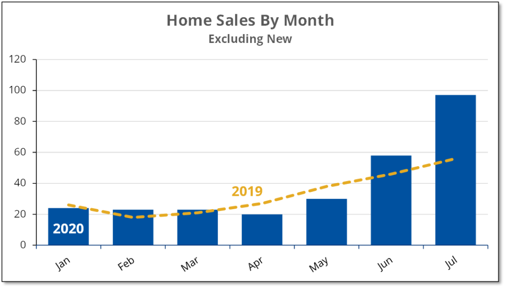 Chart shows monthly sales for existing home in Prince Edward County for the first 7 months of 2019 and 2020