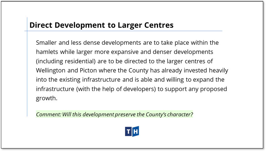 Image shows the approach to development in larger urban areas in Prince Edward County's new official plan