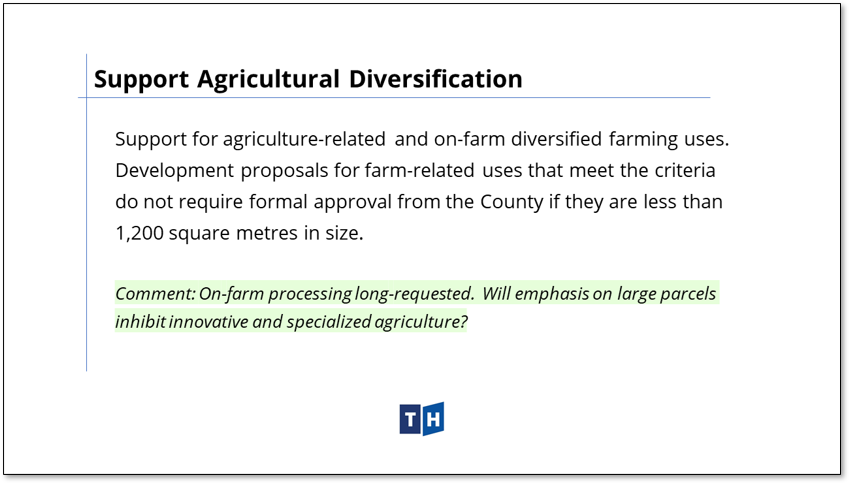 Image shows the approach to agricultural diversification in Prince Edward County's new official plan