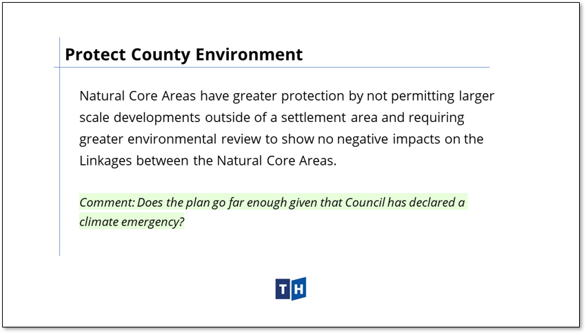 Image shows priority on Natural Core areas as means to protect the environment in Prince Edward County's new official plan