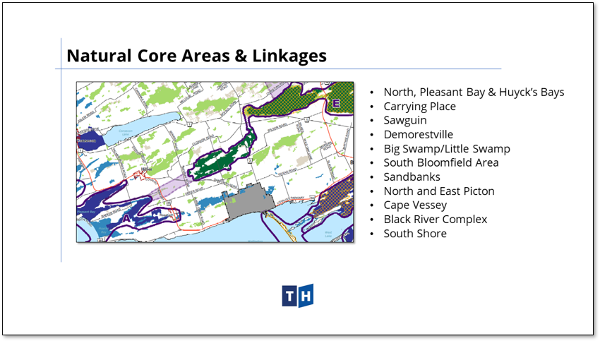 Image shows Natural Core Areas and linkages from Prince Edward County's new official plan
