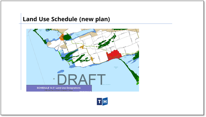 Image shows an excerpt from the land use schedule in Prince Edward County's new official plan