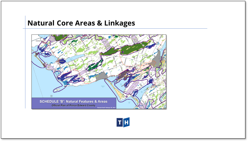 Image shows key natural features in Prince Edward County's new official plan