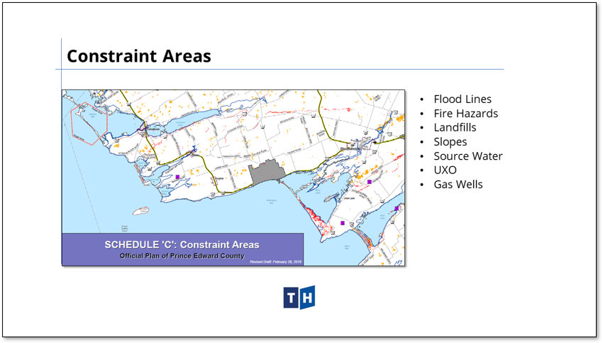 Image shows the constraint areas contained in Prince Edward County's new official plan