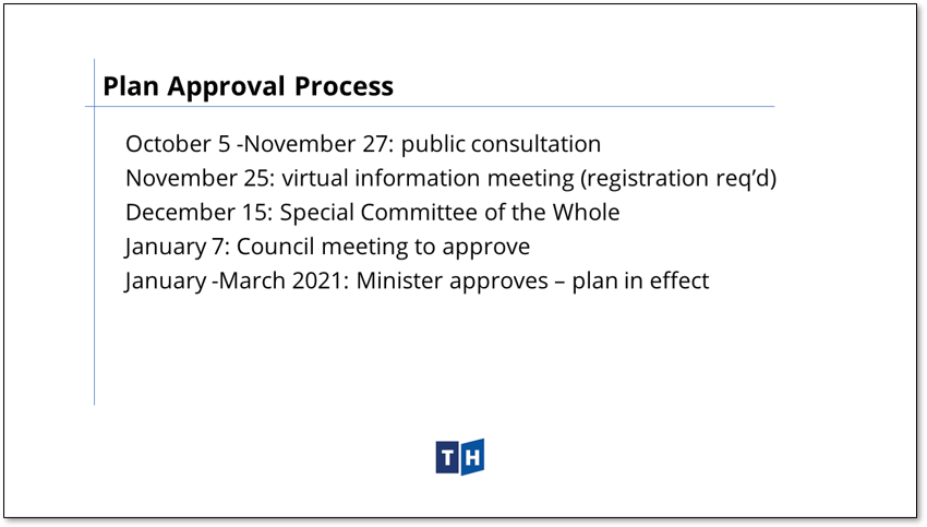 Image shows the approval process for Prince Edward County's new official plan