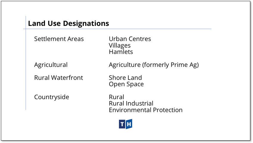 Image shows the land use designations contained in Prince Edward County's new official plan