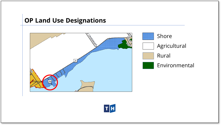 Image shows land use designations in Prince Edward County's new official plan