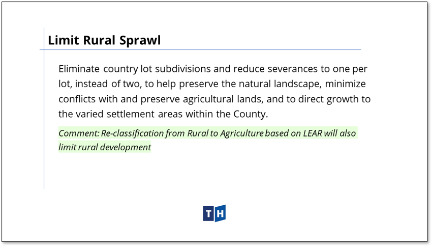 Image shows the approach to limiting rural sprawl in Prince Edward County's new official plan