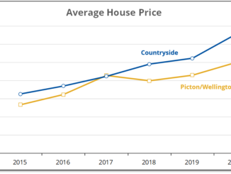 Chart shows that County house prices in rural areas have been rising faster than in urban areas.