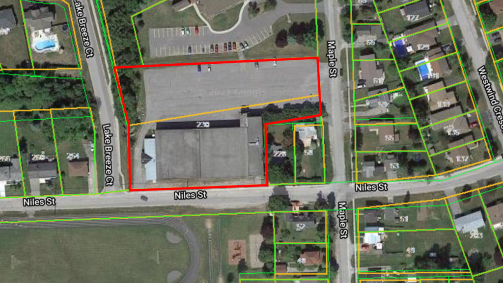 Aerial view shows location of affordable housing development proposed by the Prince Edward County Affordable Housing Corporation