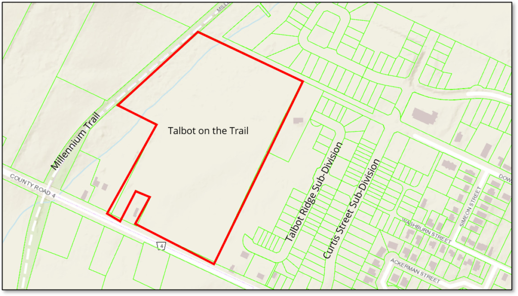 Map shows the location of the proposed development Talbot on the Trail at the intersection of the Millennium Trail and Talbot Street in Picton.